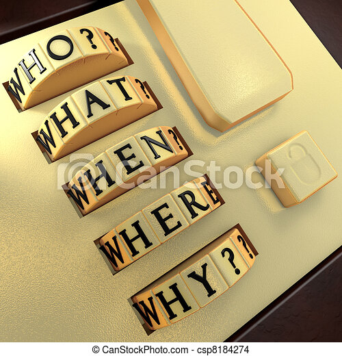 Five Ws: Who? What? Where? When? Why? Answer this question in order to unlock the suitcase - csp8184274