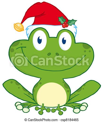 Happy Frog With Santa's Hat - csp8184465