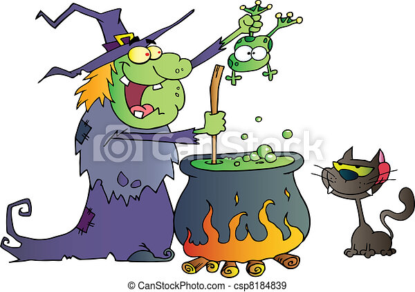 Crazy Witch With Black Cat  - csp8184839