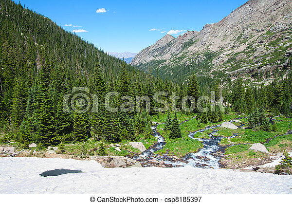 view of the Rocky Mountains National Park and mountain river from the Black Lake glacier - csp8185397