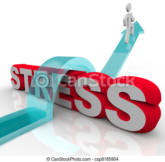 Overcoming Stress Beating Anxiety Jumping Over Word - csp8185904