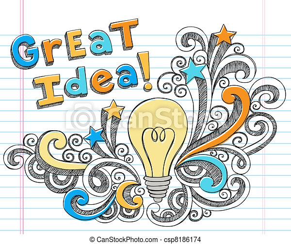 Light Bulb Great Idea Sketchy - csp8186174
