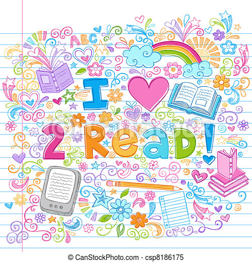 Love to Read Sketchy Doodles Vector - csp8186175
