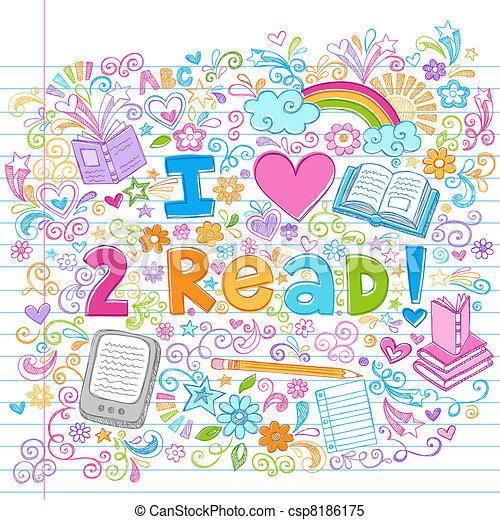 Love to Read Sketchy Doodles Vector - csp8186175