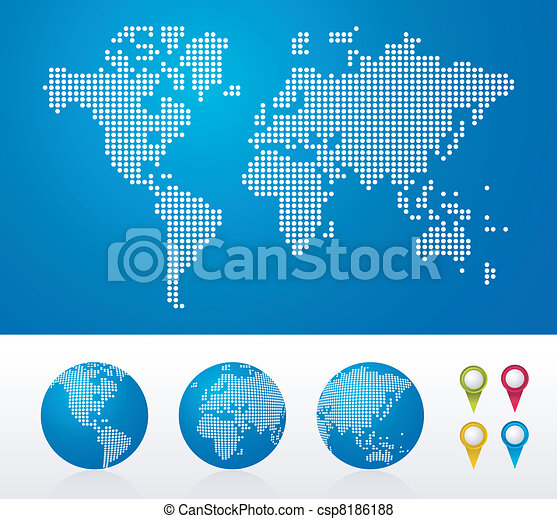 Dotted World maps and globes - csp8186188