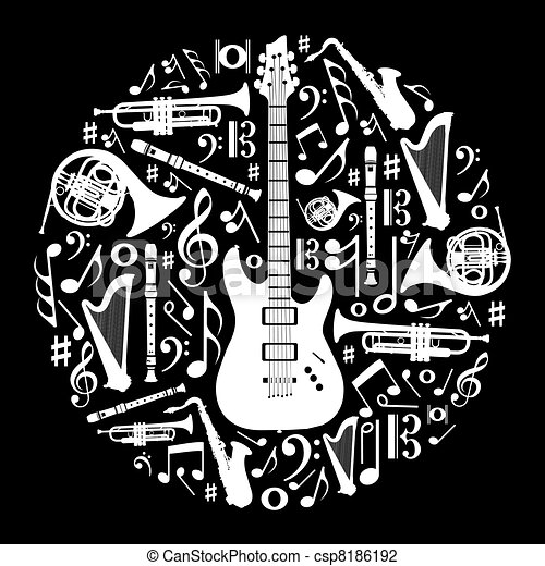 Black and white love for music concept illustration background - csp8186192