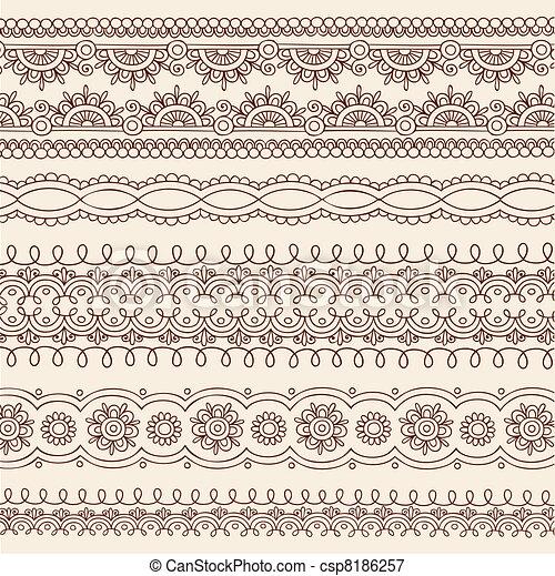 Henna Doodle Border Designs Vector - csp8186257