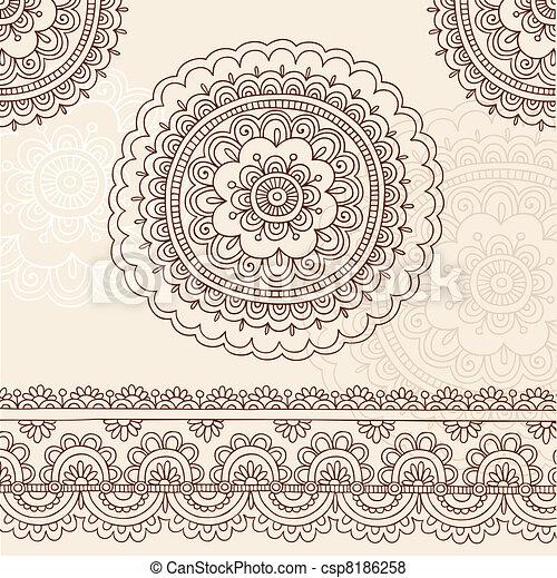 Henna Flower Mandala Doodle Vector - csp8186258