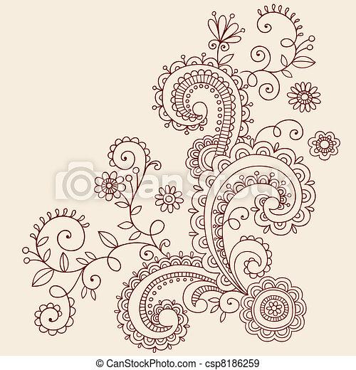 Hanna Paisley Vines Doodle Vector - csp8186259