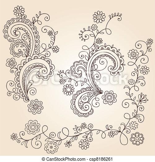 Henna Flower Vines Doodle Vector - csp8186261