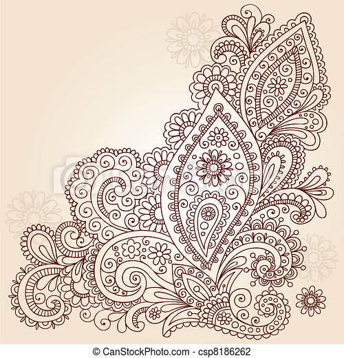 Abstract Henna Doodle Vector Design - csp8186262