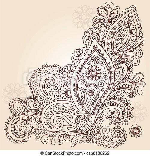 Abstract Henna Doodle Vector Design - csp8186262