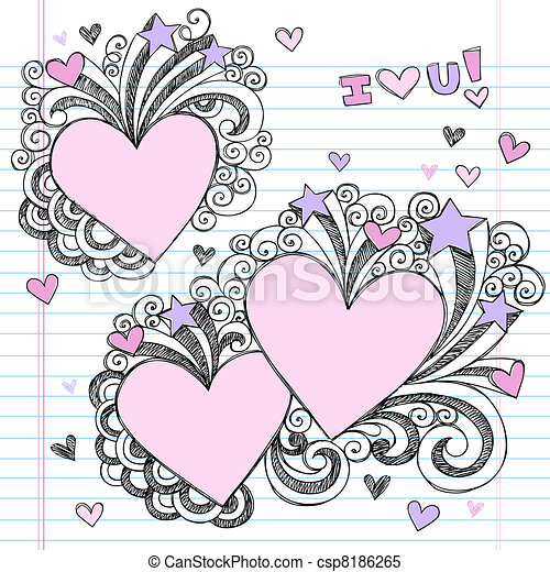 Clipart vector of valentine 39 s day doodle love hearts for Love doodles to draw