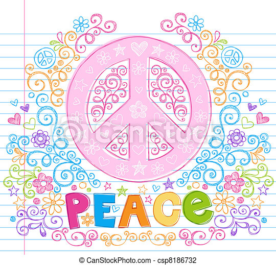 Peace Sign Sketchy Doodles Vector - csp8186732