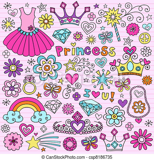 Princess Tiara Notebook Doodles Set - csp8186735