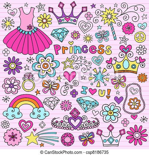 Princess Tiara Notebook Doodles Set - csp8186735