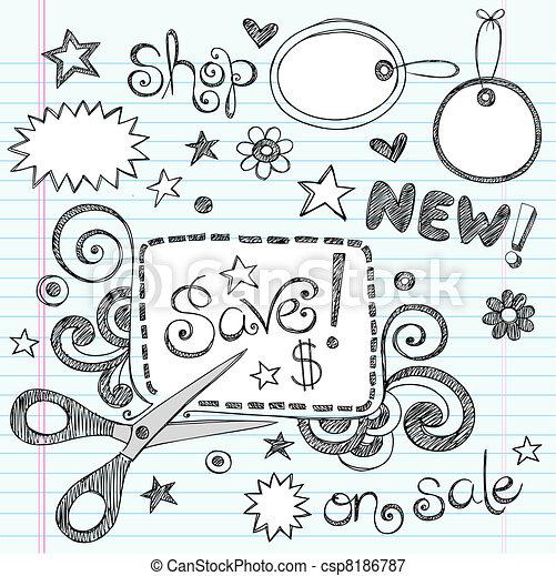 Sale Coupon Scissors Doodle Vector - csp8186787