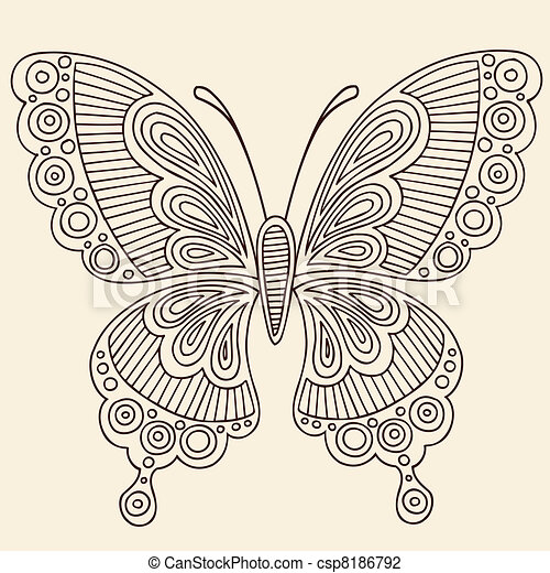 Henna Butterfly Doodle Vector - csp8186792