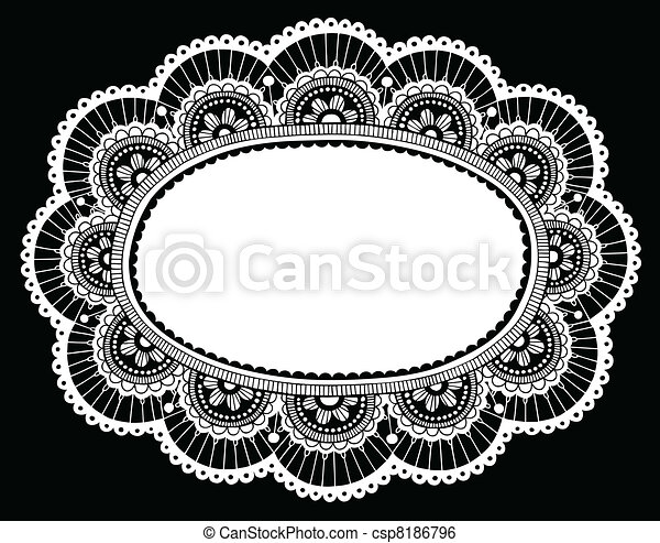 Lace Doily Crochet Border Vector - csp8186796