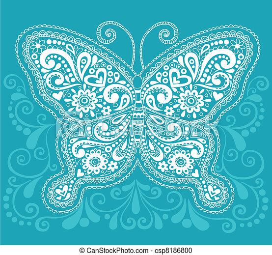 Butterfly Henna / Mehndi Paisley - csp8186800