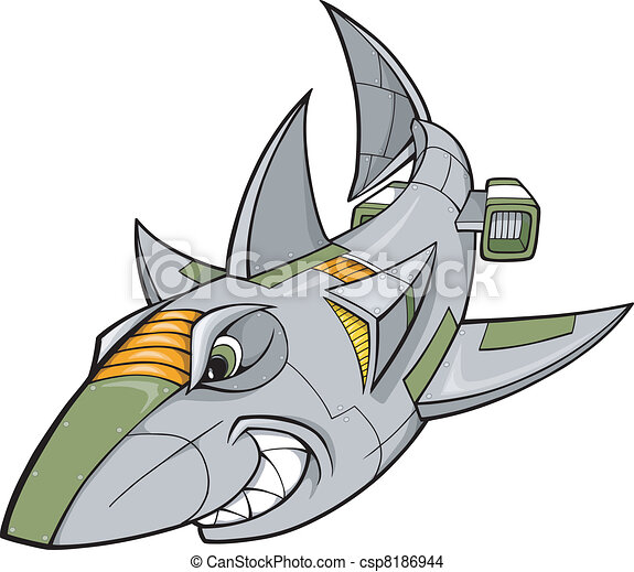 Robot Cyborg Shark Vector  - csp8186944