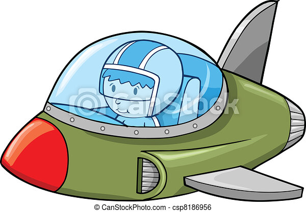 Cute Army Jet Aircraft Plane Vector - csp8186956