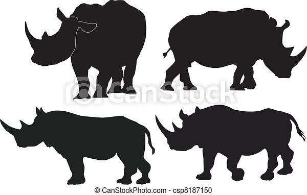 Collection of vector images of rhino - csp8187150