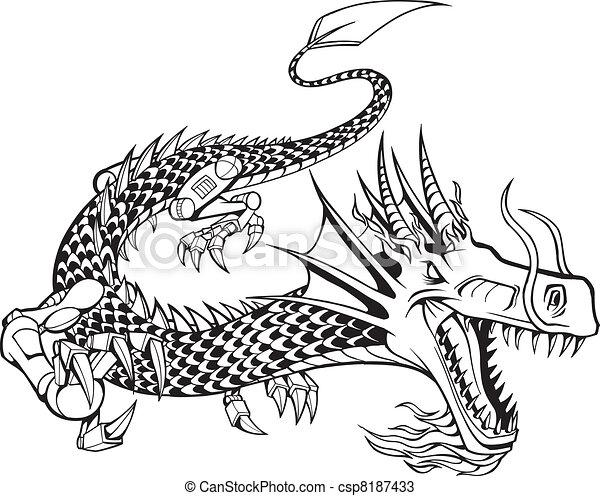 Cyborg Dragon Vector Illustration - csp8187433