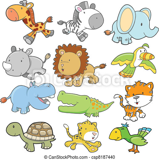 Safari Animal Design Vector set - csp8187440