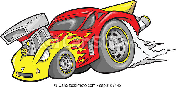Hot-Rod Race-Car Vector  - csp8187442