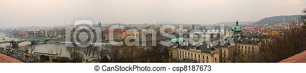 Prague Old Town, Vltava and bridges panoranic view - csp8187673