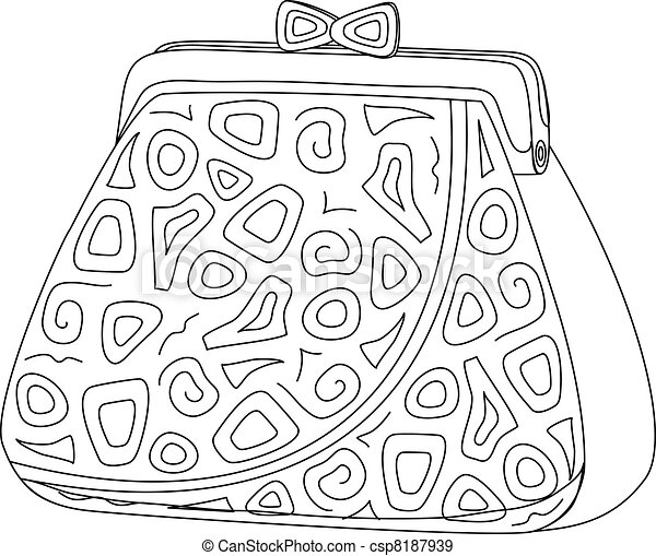 Purse with patterns, contours - csp8187939