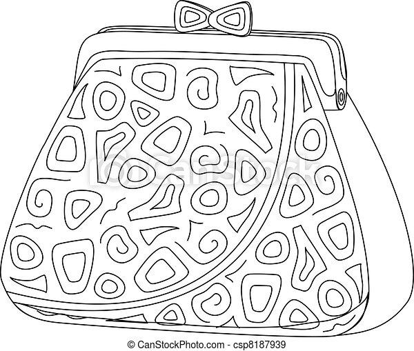 Purse with patterns, contours - csp8187939