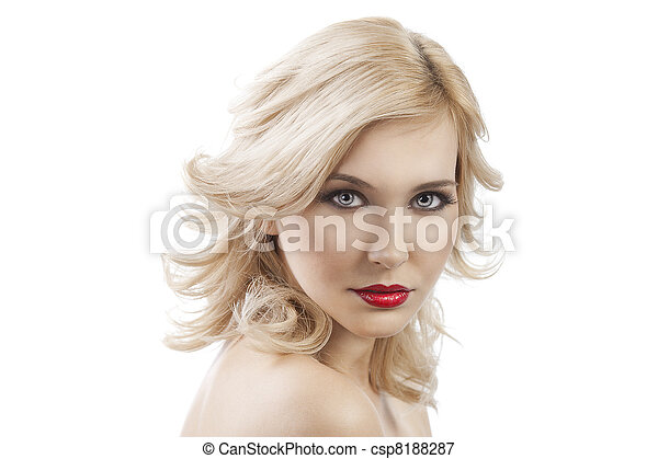 flying hair blond girl,she looks in to the lens  - csp8188287