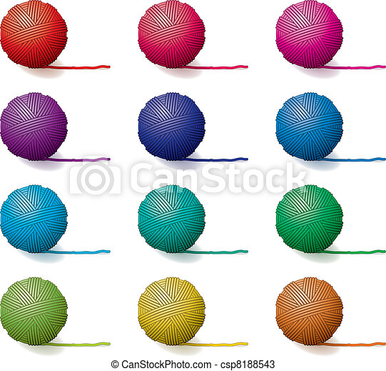 vector set of yarn balls - csp8188543
