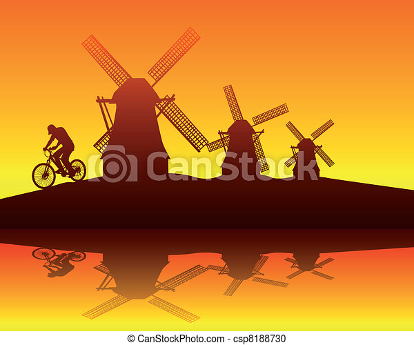 windmills and the rider - csp8188730