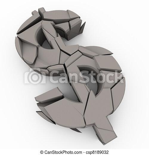 3d cracked dollar sign - csp8189032