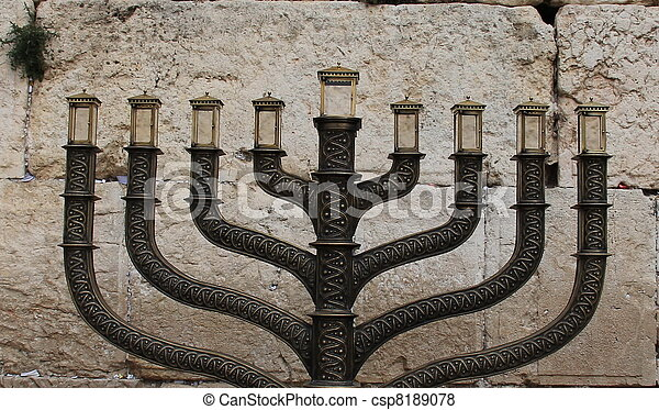 Hanuka menorah at Western Wall  - csp8189078