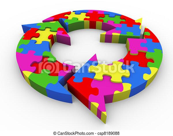 3d flow diagram puzzle - csp8189088