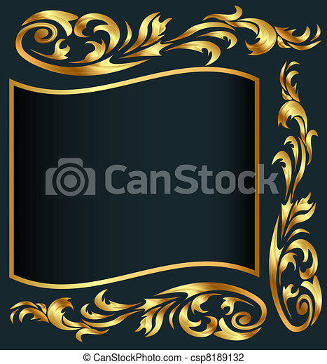 background with gold(en) pattern on gray - csp8189132