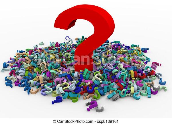 3d heap of question marks - csp8189161