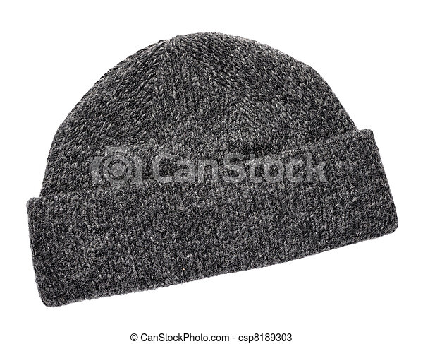 Wool knitted winter hat isolated on white background - csp8189303