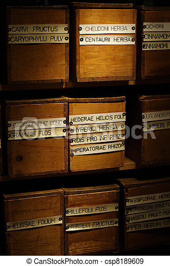 Boxes of dried medicinal herbs - csp8189609
