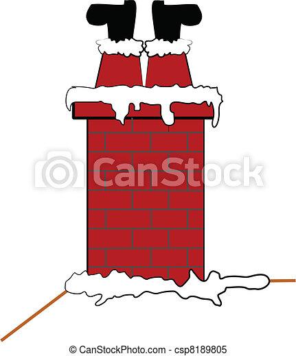 santa stuck in chimney  - csp8189805