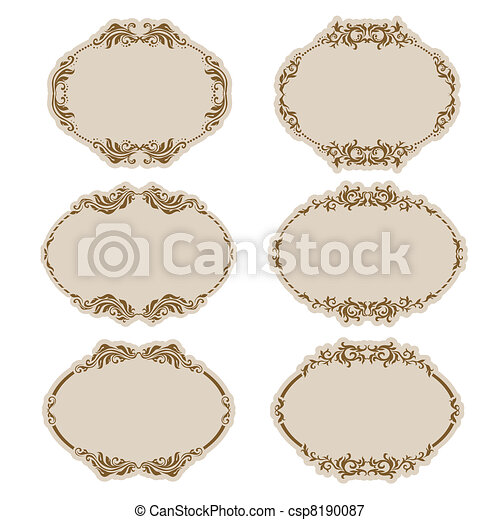 Set of ornate vector frames - csp8190087