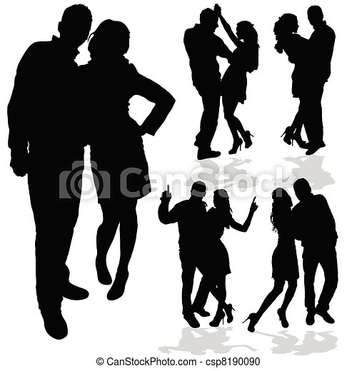 Vector Clipart of couple man and woman in love black silhouette ...