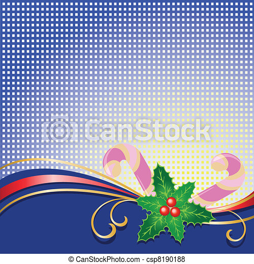 Christmas background with holly - csp8190188