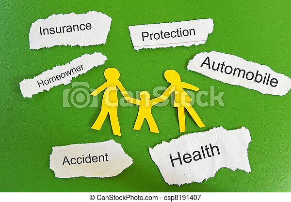 paper family and insurance themed paper pieces - csp8191407