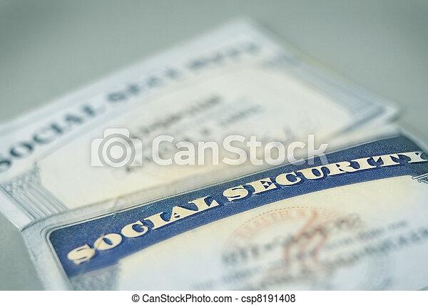 closeup of US Social Security cards - csp8191408