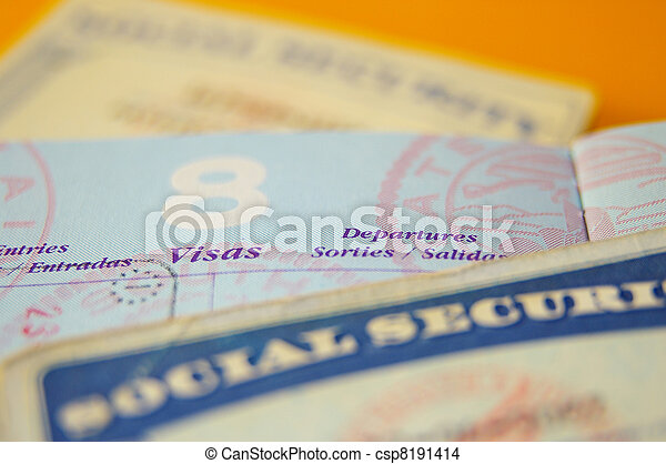 closeup of US government resident legal documents - csp8191414